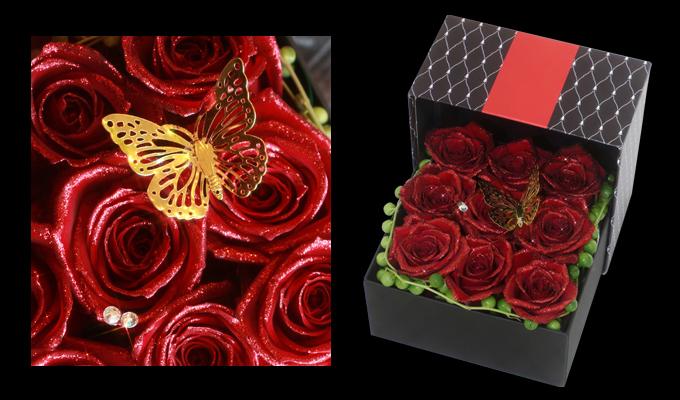 BOXアレンジメント~煌薔薇~正面と斜め画像
