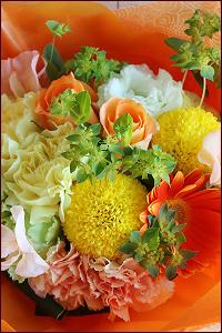 おまかせブーケ風花束サンプル(黄色・オレンジ系)