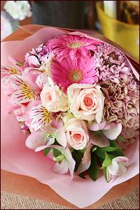 おまかせブーケ風花束サンプル(ピンク・パープル系)