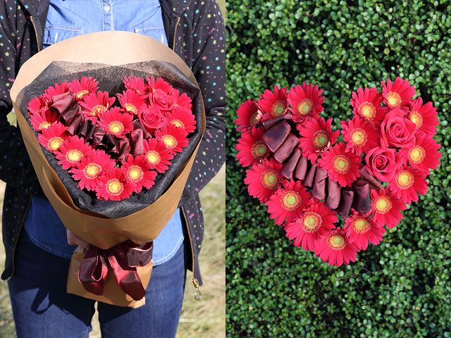 ガーベラとバラのハート型花束 プロポーズ