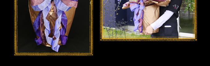 ラッピング資材は、季節に合わせて一番映えるものをお選びしています。エレガンスの優美さを一層引き立て、華をそえるラッピングに仕上げます。