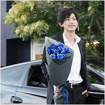青い煌薔薇の花束[きらめきばら]