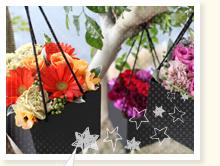 カーネーションとバラのハート型花束ブルーVer.